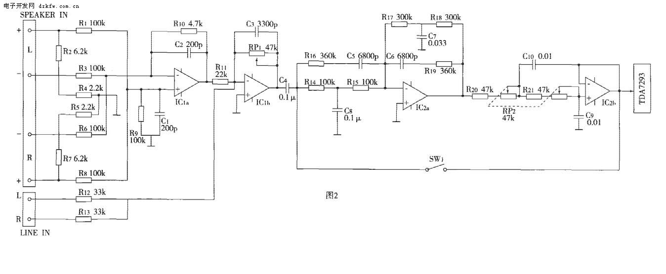 所以必须配用较大的功率放大器,这里推荐选用tda7293作功率放大,tda