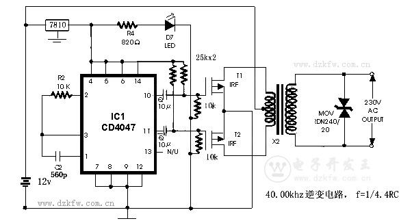 简单的逆变器CD4047做的逆变器,12V转220V,CD4047 POWER INVERTER