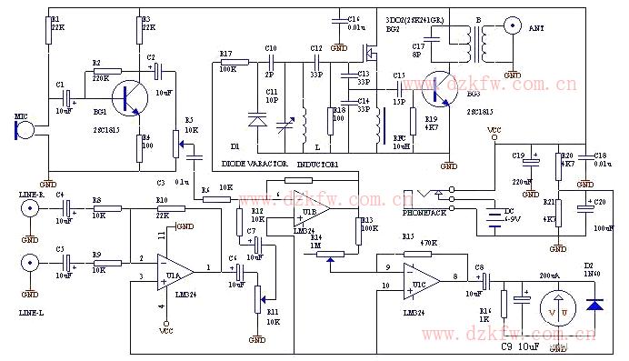 发射机电路图大全(调频收音机/调频中频/兆瓦无线电发射机电路图详解)