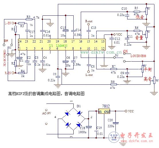 八款模拟电路设计原理图详解,最简单音调电路图大全