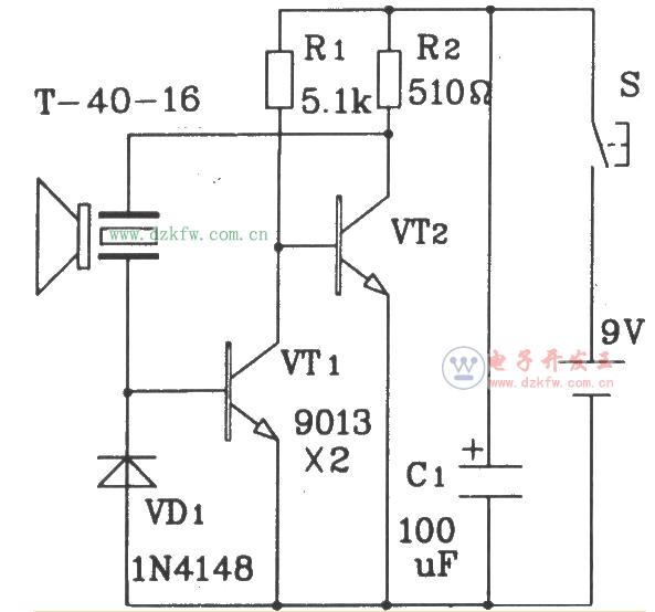 元件构成的超声波发射电路t/r-40-16便可发射出一串40khz的超声波信号